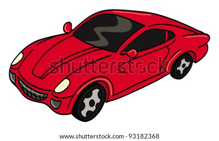 cartoon vector illustration of a red sports car - stock vector