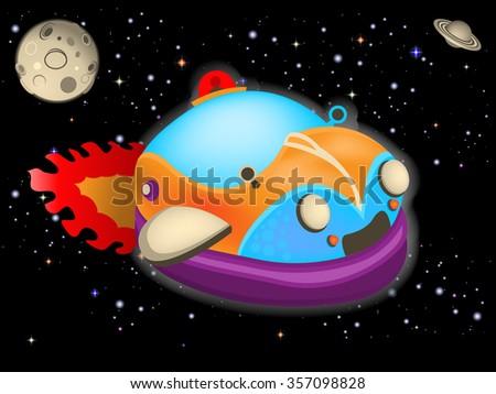 Cartoon vector illustration of a retro space car. - stock vector