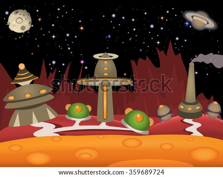 Cartoon vector illustration of a vintage space landscape with urban city. - stock vector