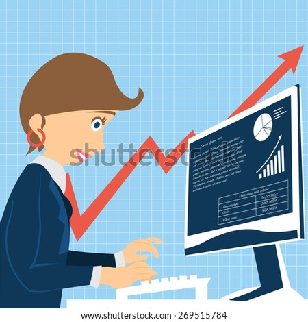 Cartoon vector illustration of a young female character working on the computer - stock vector