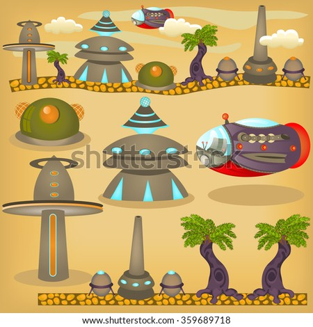 Cartoon vector illustration of alien town with elements for games or children books. - stock vector
