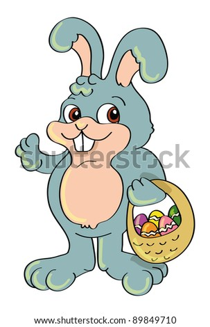 cartoon vector illustration of an Easter bunny and basket