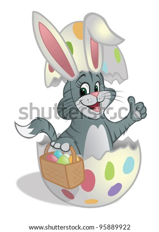cartoon vector illustration of an Easter kitten with eggs in basket