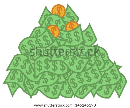 cartoon vector illustration big pile money stock vector 2018 rh shutterstock com Money Clip Art pile of money clipart free