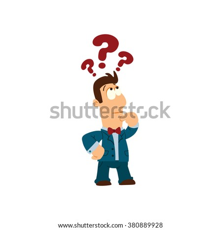 Cartoon vector illustration of businessman. Thinking man with question mark - stock vector
