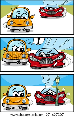 Cartoon Vector Illustration of Cars on the Road Comic Story