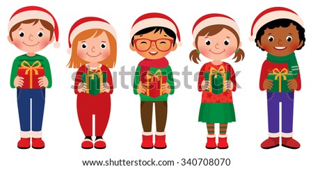 Cartoon vector illustration of children in full length with Christmas gifts in hands isolated on white background/Cartoon children with Christmas gifts isolated on white background/Vector illustration - stock vector