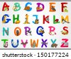 Cartoon Vector Illustration of Colorful Alphabet Letters Set from A to Z with Funny Animals - stock vector