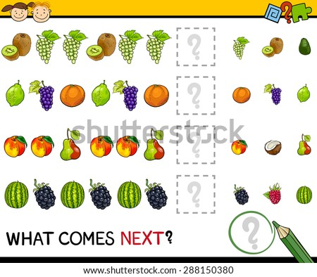 Cartoon Vector Illustration of Completing the Pattern Educational Game for Preschool Children - stock vector