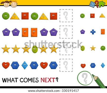 Cartoon Vector Illustration of Completing the Pattern Educational Task for Preschool Children with Basic Geometric Shapes
