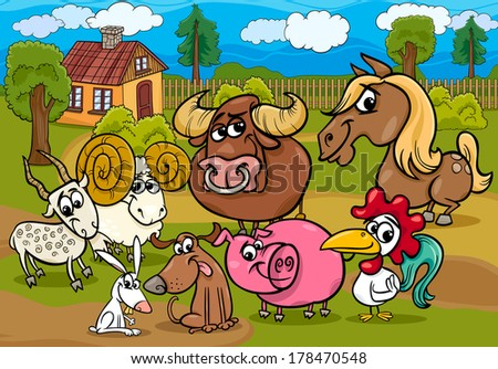 Cartoon Vector Illustration of Country Rural Scene with Farm Animals Livestock Characters Group - stock vector