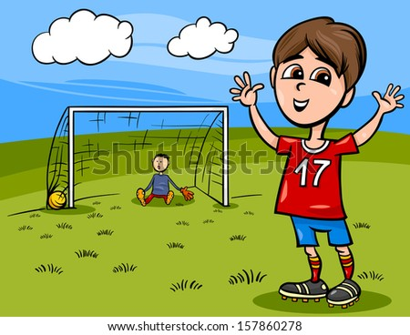 Cartoon Vector Illustration of Cute Boy Playing Football or Soccer - stock vector