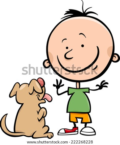Cartoon Vector Illustration of Cute Little Boy with Dog or Puppy