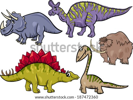 Cartoon Vector Illustration of Dinosaurs and Prehistoric Animals Characters Set - stock vector
