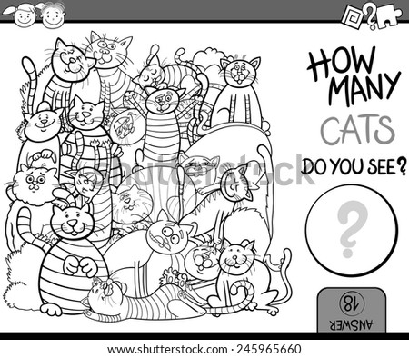 Cartoon Vector Illustration of Education Counting Game for Coloring Book - stock vector