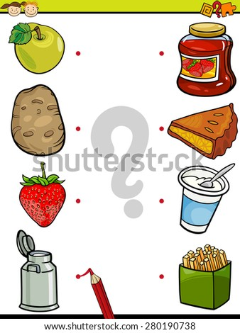 Cartoon Vector Illustration of Education Element Matching Game for Preschool Children with Food Ingredients - stock vector