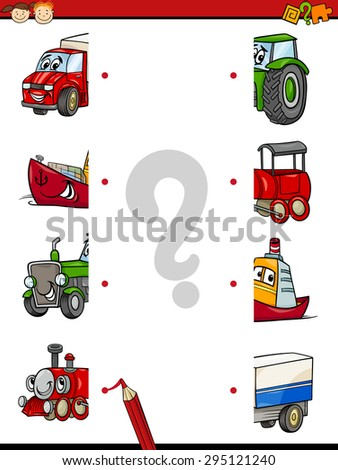 Cartoon Vector Illustration of Education Game of Halves Matching for Preschool Children with Transport Characters - stock vector