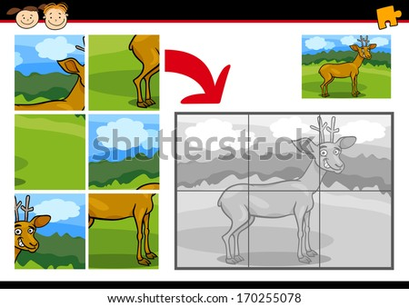 Cartoon Vector Illustration of Education Jigsaw Puzzle Game for Preschool Children with Funny Deer Animal