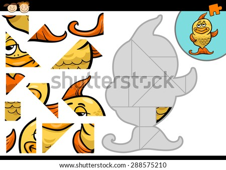 Cartoon Vector Illustration of Education Jigsaw Puzzle Game for Preschool Children with Funny Gold Fish Animal Character - stock vector