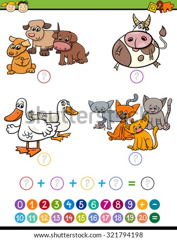 Cartoon Vector Illustration of Education Mathematical Addition Game for Preschool Children with Animal Characters - stock vector