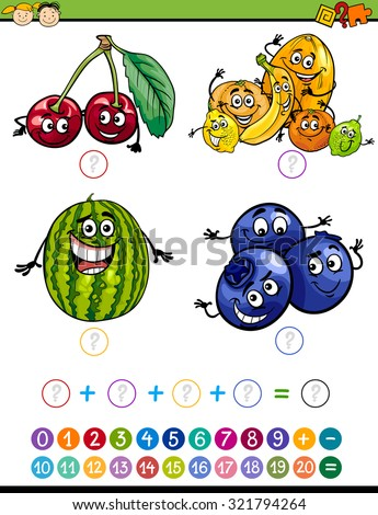 Cartoon Vector Illustration of Education Mathematical Addition Task for Preschool Children with Funny Fruits - stock vector