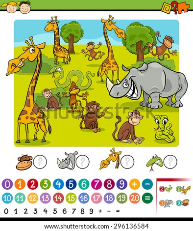 Cartoon Vector Illustration of Education Mathematical Game for Preschool Children with Safari Animals - stock vector