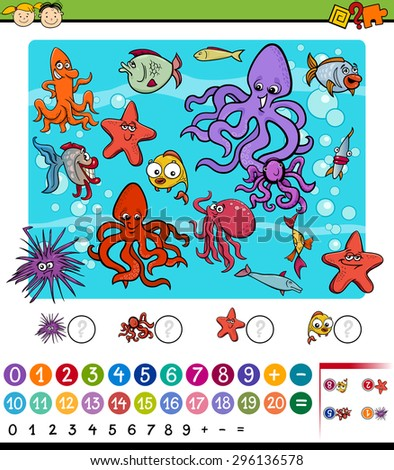 Cartoon Vector Illustration of Education Mathematical Game for Preschool Children with Sea Life Animals - stock vector