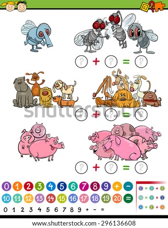 Cartoon Vector Illustration of Education Mathematical Game of Calculating Animals for Preschool Children - stock vector