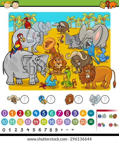 Cartoon Vector Illustration of Education Mathematical Game of Counting Safari Animals for Preschool Children - stock vector