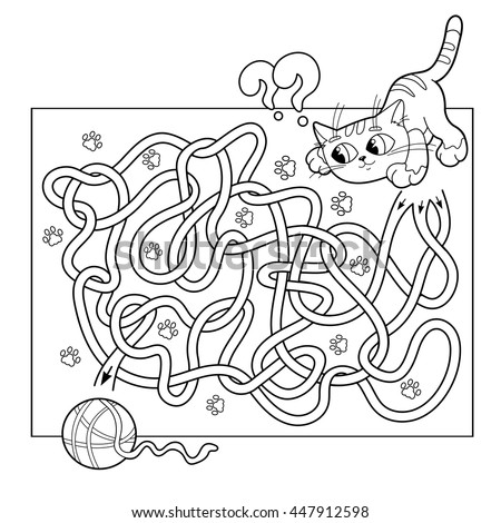 cartoon vector illustration of education maze or labyrinth game for preschool children puzzle tangled - Coloring Book Yarns