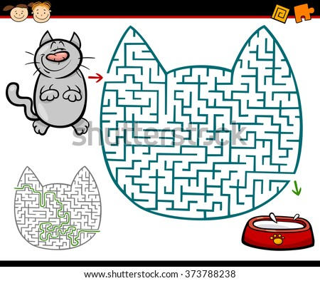 Cartoon Vector Illustration of Education Maze or Labyrinth Game for Preschool Children with Cat and Milk - stock vector