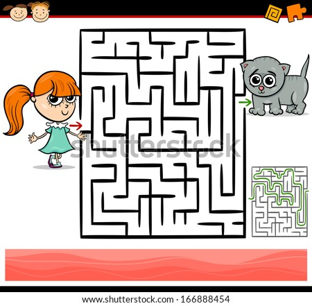 Cartoon Vector Illustration of Education Maze or Labyrinth Game for Preschool Children with Cute Little Girl and Baby Kitten - stock vector