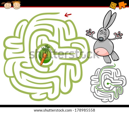 Cartoon Vector Illustration of Education Maze or Labyrinth Game for Preschool Children with Cute Rabbit or Bunny and Carrot - stock vector
