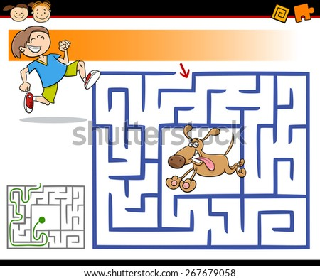 Cartoon Vector Illustration of Education Maze or Labyrinth Game for Preschool Children with Cute Boy and Dog - stock vector