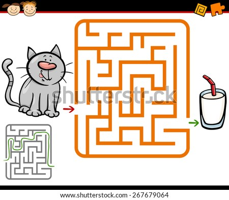 Cartoon Vector Illustration of Education Maze or Labyrinth Game for Preschool Children with Cute Cat and Glass of Milk - stock vector