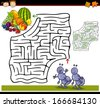 Cartoon Vector Illustration of Education Maze or Labyrinth Game for Preschool Children with Funny Ants and Fruits - stock vector