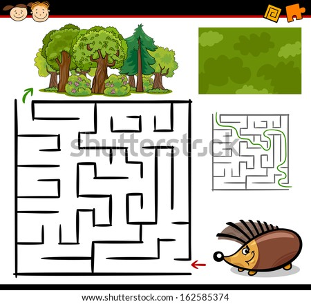 Cartoon Vector Illustration of Education Maze or Labyrinth Game for Preschool Children with Funny Hedgehog Animal - stock vector