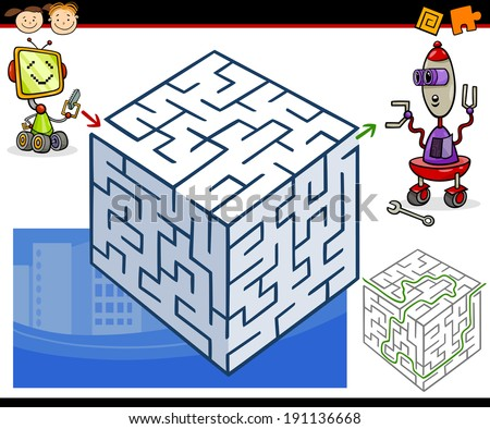 Cartoon Vector Illustration of Education Maze or Labyrinth Game for Preschool Children with Funny Robots - stock vector