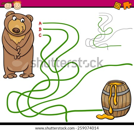 Cartoon Vector Illustration of Education Path or Maze Game for Preschool Children with Bear and Honey - stock vector