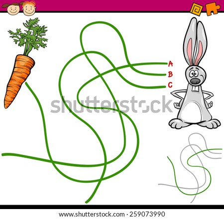 Cartoon Vector Illustration of Education Path or Maze Game for Preschool Children with Rabbit and Carrot - stock vector