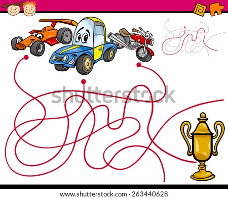Cartoon Vector Illustration of Education Paths or Maze Game for Preschool Children with Cars - stock vector