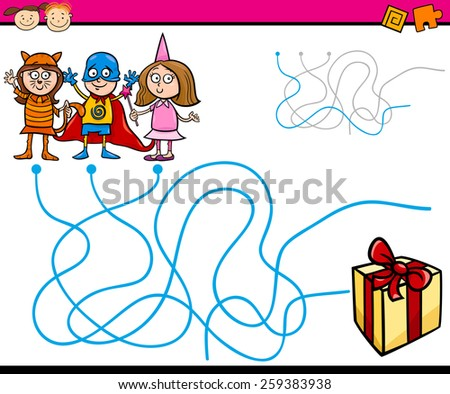 Cartoon Vector Illustration of Education Paths or Maze Game for Preschool Children with Children and Present - stock vector