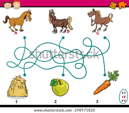 Cartoon Vector Illustration of Education Paths or Maze Game for Preschool Children with Horses and Food - stock vector