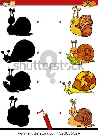 Cartoon Vector Illustration of Education Shadow Task for Preschool Children with Snails - stock vector