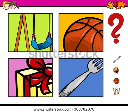 Cartoon Vector Illustration of Educational Activity Task for Preschool Children with Objects - stock vector