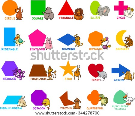 Cartoon Vector Illustration of Educational Basic Geometric Shapes for Preschool or Primary School Children with Animal Characters - stock vector