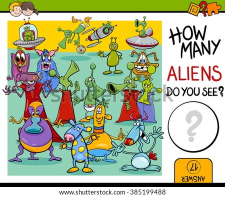 Cartoon Vector Illustration of Educational Counting Task for Preschool Children with Aliens Fantasy Characters - stock vector