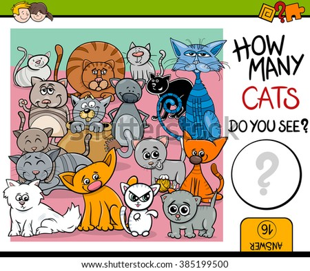 Cartoon Vector Illustration of Educational Counting Task for Preschool Children with Cats Animal Characters