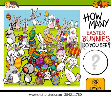 Cartoon Vector Illustration of Educational Counting Task for Preschool Children with Easter Bunny Characters - stock vector