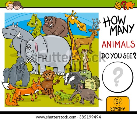 Cartoon Vector Illustration of Educational Counting Task for Preschool Children with Wildlife Animal Characters